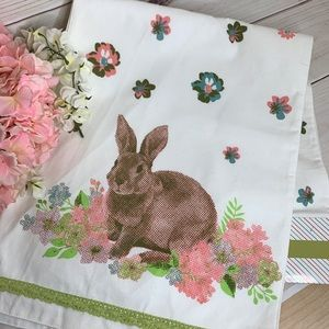 Table Runner With Spring Pastel Flowers and Bunny